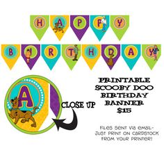 Scooby Doo birthday banner Printable DIY Scooby Doo inspired Theme by onelovedesignsllc, $15.00