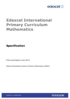 Edexcel International Award in Primary Mathematics specification