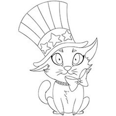 Patriotic Cat Coloring Page