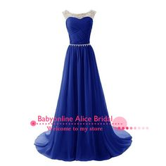 Preço barato Vestido Do Baile Chiffon longo Vestido De Baile 2015 strass elegante azul Royal Vestido De noite Vestidos De Festa