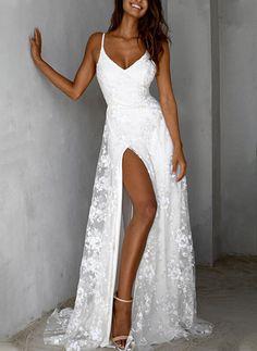 Elegant White Dress, Beautiful White Dresses, White Dresses For Women, Party Dresses For Women, Elegant Dresses, Lace Party Dresses, Lace Evening Dresses, White Maxi Dresses, Long Summer Dresses