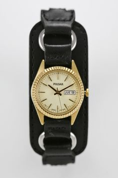 Pulsar Watch Womens Black Leather Day Date Gold Stainless Luminescent Quartz