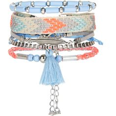 New Look 5 Pack Neon Blue Tassel Bracelets (15 BRL) ❤ liked on Polyvore featuring jewelry, bracelets, multicolour, multi colored jewelry, blue bangles, colorful jewelry, tassel jewelry and neon jewelry
