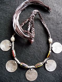 Africa | Old Berber Tribal Necklace - Talisman - Morocco | Old Silver and old Venetian Murrine glass beads | Old authentic necklace from the oasis of Bani in the south of Morocco. Spirals, symbol of eternity, containing spells in Berber alphabet