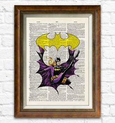 Batgirl Dictionary Art Print Batman of Book Art by CharlieMabi