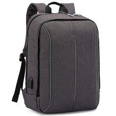"Laptop Backpack 17,3"" Rucksack USB Charging Earphones Port Oxford Fabric Grey #LaptopBackpack"