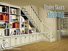 It's time to make good use of the wasted space! This shelving system contains shelves that fits in the triangular space under stairs, as well as its extension and matching corner shelf. Found in...