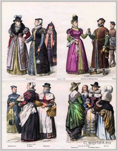 History of costumes in chronological development. Edited and published by Kaspar Braun & Friedrich Schneider in Munich. German Costume, French Costume, Ancient Greek Clothing, Medieval Clothing, Historical Costume, Historical Clothing, Middle Age Fashion, 18th Century Fashion, 16th Century