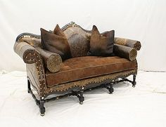 W-518-03 Carved Sofa Old Hickory Tannery