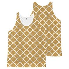 Gold Glitter White Moroccan Tile Fancy Pattern All-Over Print Tank Top Tank Tops