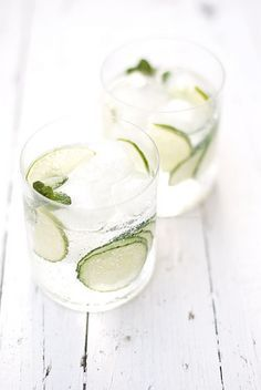 cucumber, lime and mint gin tonic.
