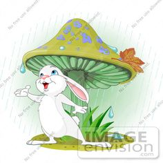 Description:  Royalty-free animal clip art picture of a wild white bunny rabbit standing under a mushroom, reaching out to catch rain drops in his hand.
