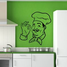 Chef Print Kitchen Wall Art Sticker Wall Decal - Quotes & Slogans - Kitchen - Home & Living Wall Decals, Wall Art, Kitchen Wall Stickers, Spice Things Up, Home And Living, Coffee Shop, Home Furniture, Chef, Quotes