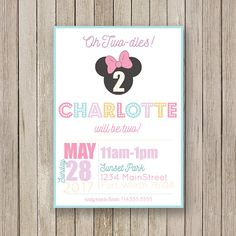 Minnie Mouse Birthday Invitations  Lavender Teal Girls Party
