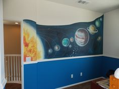 Solar system mural. Fun outer space decor for a bedroom or nursery.