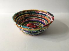 Multicolored Coiled Rope Bowl Fabric Bowl Catchall Basket