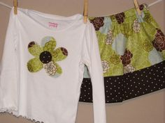 Spring Skirt Set - Baby Toddler Girls Twirl Skirt and Matching Top - Mosaic Flowers - Brother Sister Set - Great for Spring Easter