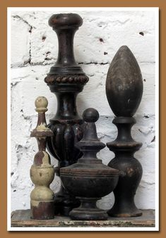 antique finials: Did you know that architectural finials were once viewed as a deterrent to witches on broomsticks trying to land on one's roof? (This from web site)