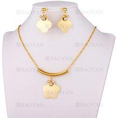 juego collar y aretes de flores con cristal en acero dorado inoxidable -SSNEG183565