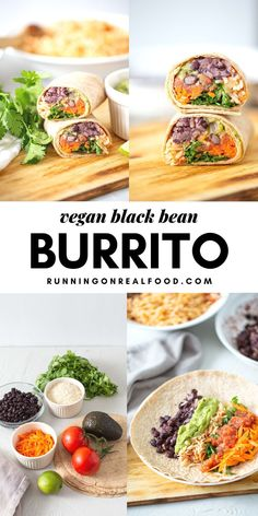 Vegan Bean and Rice Burritos These delicious vegan black bean burritos feature cumin lime black beans with red rice and the best burrito fillings like avocado, vegan cheese, salsa and sour cream. Enjoy for a healthy, filling plant-based meal. Gluten Free Recipes For Dinner, Vegetarian Recipes Easy, Vegetable Recipes, Healthy Dinner Recipes, Soup Recipes, Whole Food Recipes, Salad Recipes, Vegetarian Sweets, Healthy Food