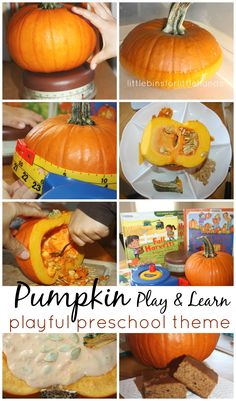 Pumpkin Activities for Preschool Play And Learning. Sensory, science, math, literacy and baking. A whole week of hands-on learning and play!