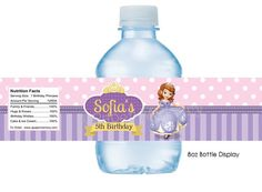 Sofia The First Water Bottle Labels DIY by APaperMemoryPrints