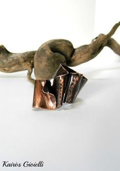 Wood_ copper ring by Kairòs Gioielli