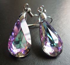 Swarovski Crystal Dangle Earrings, Faceted with Purple and Green Hues (Aurora Borealis)