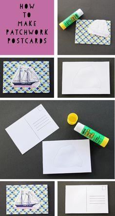 How to make patchwork postcards | Moomookachoo