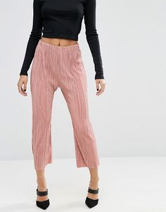 ASOS Wide Leg Plisse Pants with Raw Hem, $50.42 CAD