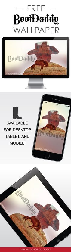 January Freebie! Free BootDaddy cowboy and horse downloadable desktop, tablet, or mobile wallpaper. Click to download!