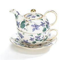 Amazon.com | Teapot Tea For One Duo Teapot And Teacup Lavender Violets 15 Oz Total: Tea-For-One Sets
