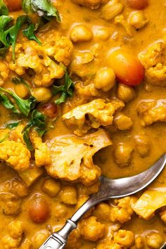 Ready in 30 minutes, this vegan & gluten free Cauliflower Chickpea Coconut Curry has classic flavors from a simple mix of spices. Curry Recipes, Veggie Recipes, Indian Food Recipes, Asian Recipes, Soup Recipes, Vegetarian Recipes, Cooking Recipes, Healthy Recipes, Garbanzo Bean Recipes
