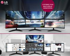 The #LG, 21:9 Curved Ultra Wide #Monitor allows multi-display set-up tailored to users' refined needs.