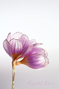 Нежнейшие Крокусы от Crystal Flora / Delicate Crocuses from Crystal Flora (Please do not confuse with Kanzashi by Sakae) www.facebook.com/... (fantasy film, Luxury jewelry, expensive wedding decorations, elf ornaments, resin and wire, American flowers)