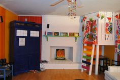 TARDIS tv console and indoor treehouse and incendio harry potter fireplace :)