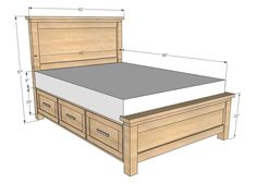 Retro Farmhouse Bed Storage Classic Full Size Bed Frame With Storage Drawers