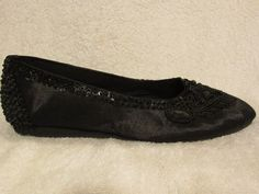 Sz 6 M Black Beads and Sequin Flats by Meeka Made in Indonesia | eBay