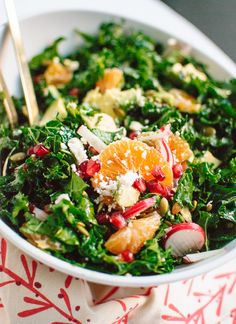 Kale, Clementine and Feta Salad with Honey-Lime Dressing - cookieandkate.com