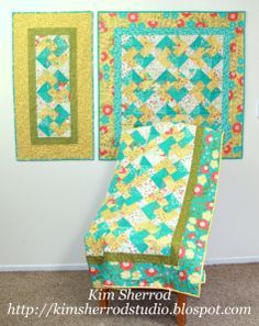 Hi! This is Kim and I am back with 3 fun projects to share with you. This tutorial will be for a table runner, wall hanging and lap quilt. These are all done using triangles, but you don't have to ...
