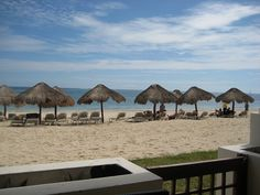 Our patio on the beach in Cancun.