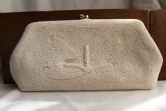 Vintage Evening Bag, Ivory Clutch Purse, Hand Beaded Pearls, Handbag, Bass by Josef, Wedding Prom Formal.