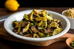 Roasted Brussels Sprouts and Mushrooms With Gremolata and Quinoa by Martha Rose Shulman