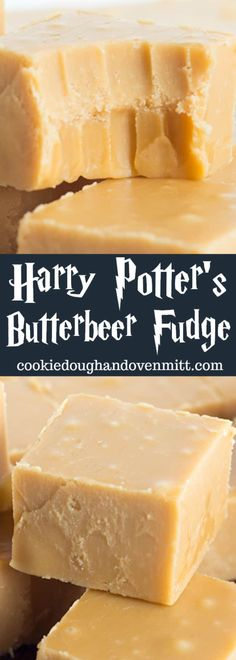 Harry Potter's Butterbeer Fudge - this butterbeer fudge is packed full of butterscotch chips and rum flavoring. It has a crumbly texture, just how I like it! Harry Potter fans will love for you making this.