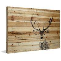 Parvez Taj - 'Inquisitive Deer' Painting Print on Natural Pine Wood