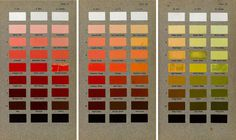 Three plates from Robert Ridgeway's Color Standards and Color Nomenclature (1912) smith.gl/28VKmOJ