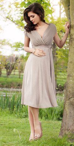 Alessandra Maternity Dress Polka Dot (Oyster) by Tiffany Rose