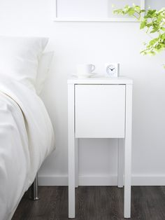 White Narrow Bedside Table With Four Drawers Perfect For When - White bedside table ikea