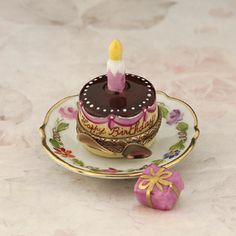 Limoges Happy Birthday Cake on Plate with Candle box