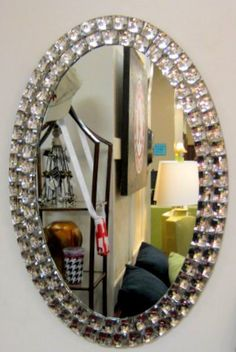 BEAUTIFUL Bedazzled Mirror! Only $19.99 at SEALY FURNITURE 1534 Tuscaloosa, Ala 35401 see more at www.sealyoncampus.com Furniture Outlet, Art Furniture, Hanging Art, Home Accessories, Bedroom Ideas, Wall Decor, Crystal, Crafty, Mirror